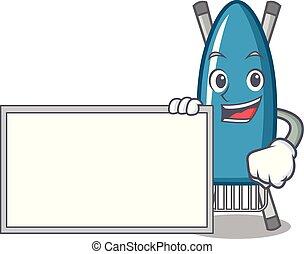 With board iron board character cartoon vector illustration