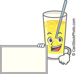 With board lemonade character cartoon style
