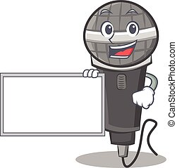 With board microphone cartoon character design