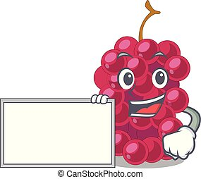 With board mulberry fruit on a cartoon table vector...