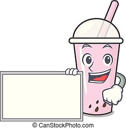 With board raspberry bubble tea character cartoon
