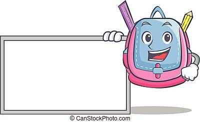 With board school bag character cartoon