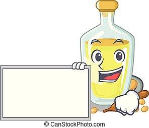 With board soybean oil put in cartoon bottle