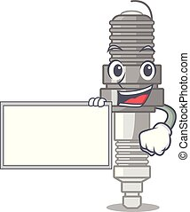 With board spark plug in the character shape