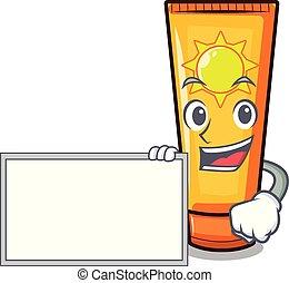 With board sun cream in the mascot shape vector illustration