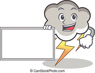 With board thunder cloud character cartoon