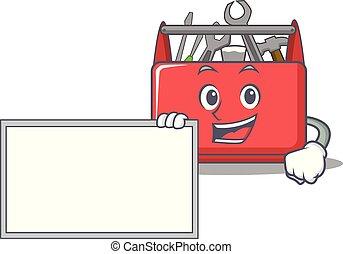 With board tool box character cartoon