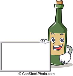 With board wine bottle character cartoon