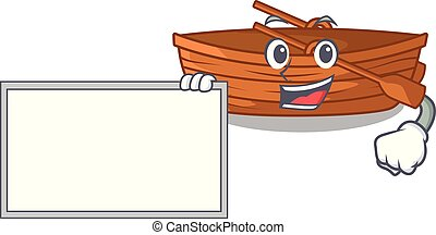 With board wooden boat in the cartoon shape