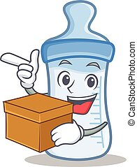 With box baby bottle character cartoon