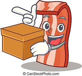 With box bacon character cartoon style vector illustration