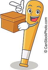 With box baseball bat character cartoon