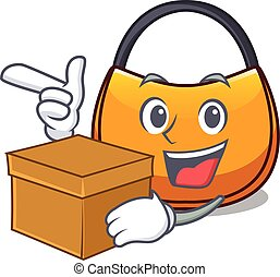 With box beautifully hobo bag on character funny vector...