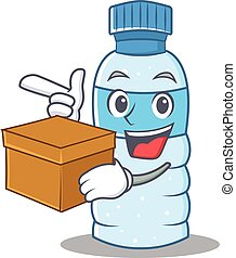 With box bottle character cartoon style