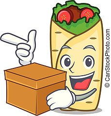 With box burrito character cartoon style
