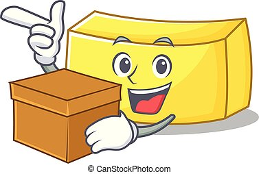With box butter character cartoon style