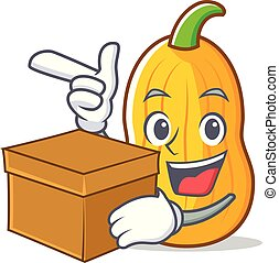 With box butternut squash character cartoon vector...
