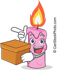 With box candle character cartoon style vector illustration