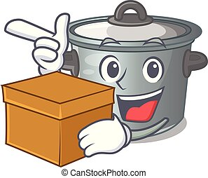 With box cartoon cookware stock pot in kitchen vector...