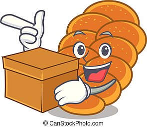 With box challah character cartoon style