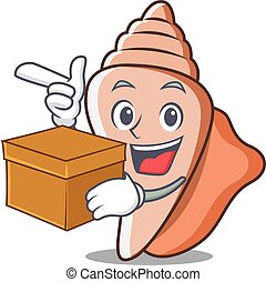 With box cute shell character cartoon