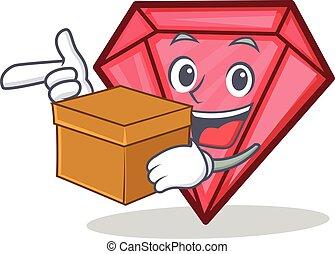 With box diamond character cartoon style