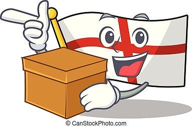 With box flag england with the cartoon shape vector ...