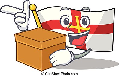With box flag guernsey with the cartoon shape vector illustration