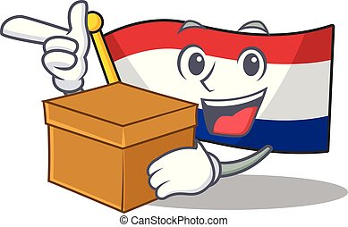 With box flag netherlands with the mascot shape vector ...