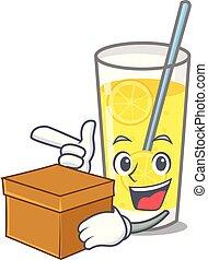 With box lemonade character cartoon style