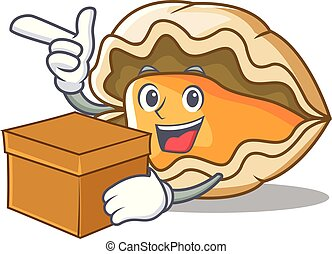 With box oyster character cartoon style