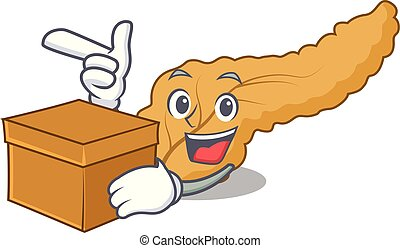 With box pancreas character cartoon style