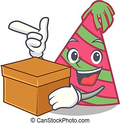 With box party hat character cartoon vector illustration
