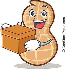 With box peanut character cartoon style