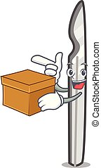 With box scalpel character cartoon style