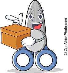 With box scissor character cartoon style
