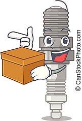 With box spark plug in a cartoon box