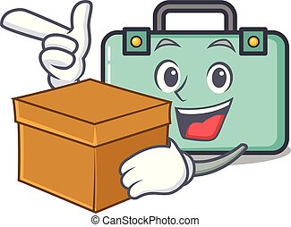 With box suitcase character cartoon style