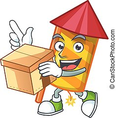 With box Super Funny yellow stripes fireworks rocket cartoon character style