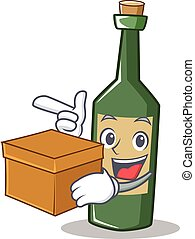 With box wine bottle character cartoon