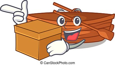 With box wooden boats isolated with the cartoons illustration vector