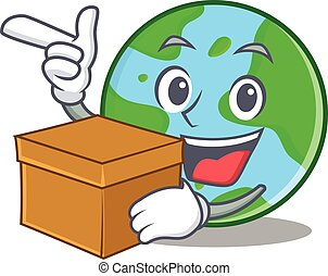 Cute cartoon earth character world map globe with smiley with box world globe character cartoon sciox Images