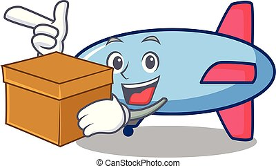 With box zeppelin character cartoon style