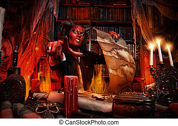 with candles - Horned Devil in his home. Fantasy. Ancient...