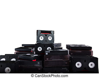 (With Clipping path) Abandoned pile of old useless mini DV