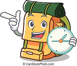 With clock backpack character cartoon style