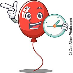 With clock balloon character cartoon style