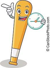 With clock baseball bat character cartoon