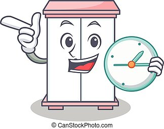 With clock cabinet character cartoon style