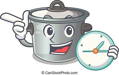 With clock cartoon cookware stock pot in kitchen vector...
